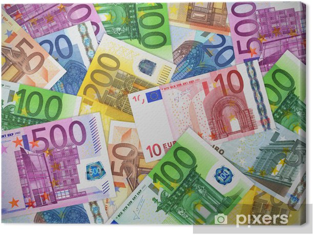 Heap of Euro banknotes Canvas Print - Finance