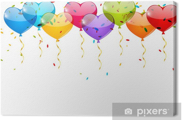 Heart balloons border for Your design Canvas Print - Celebrations