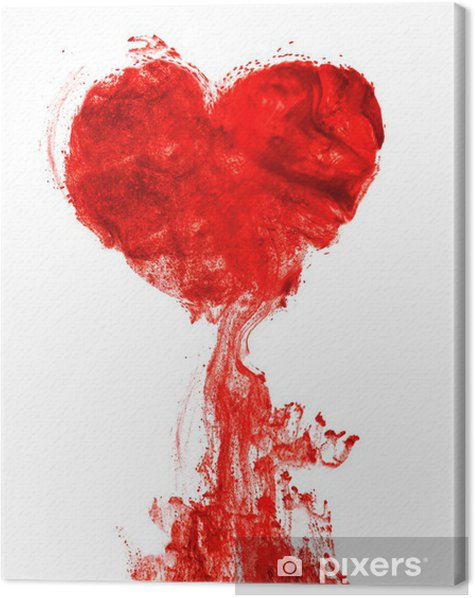 Heart shape ink of blood Canvas Print - iStaging