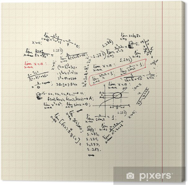Heart shape with math formulas for your design Canvas Print