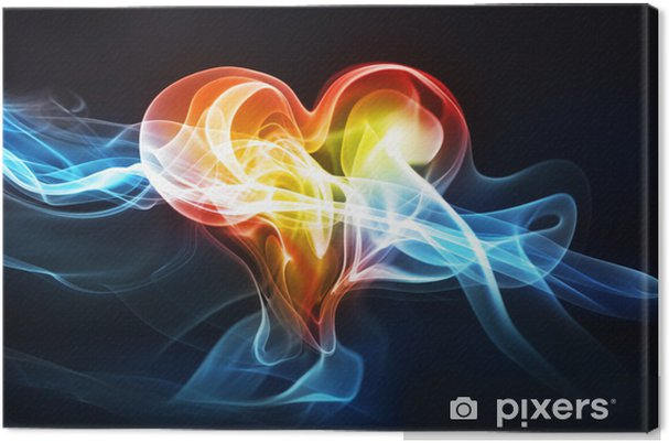 Heart Shaped Lightning Photo Effect Love Or Medical Concept Canvas Print