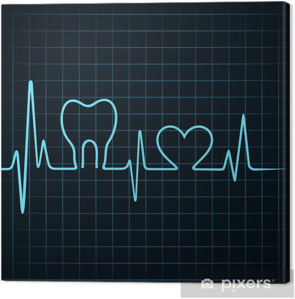 Heartbeat make a teeth and heart symbol stock vector Canvas Print - Backgrounds