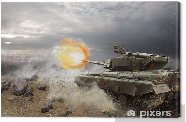 Heavy armor in the fire of battle Canvas Print - Themes