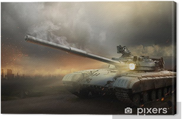 Heavy armor in the fire of battle Canvas Print -