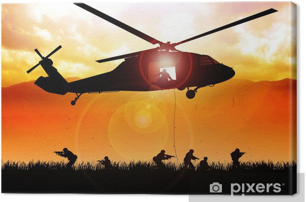 Helicopter is dropping the troops Canvas Print - Themes