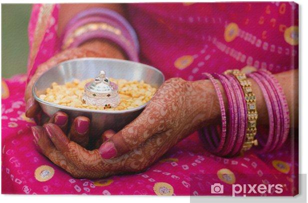 henna ,saree, wedding, bride ,Rajasthan, India Canvas Print - Tattoos