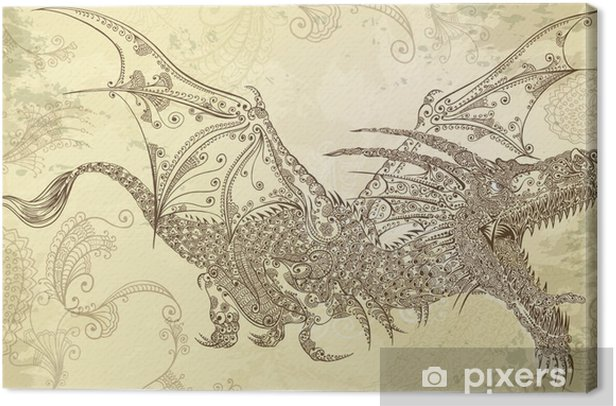 Henna Tattoo Dragon Doodle Sketch Tribal Vector Canvas Print - Styles