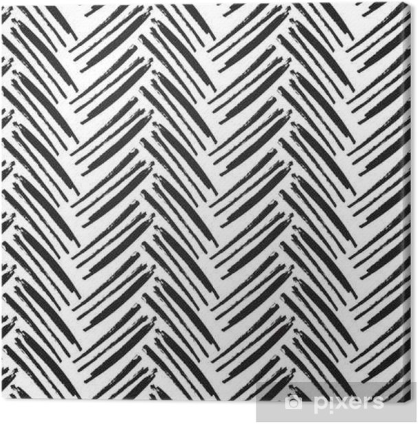 Herringbone Seamless Pattern. Monochrome vector pattern. Painted Canvas Print - Graphic Resources