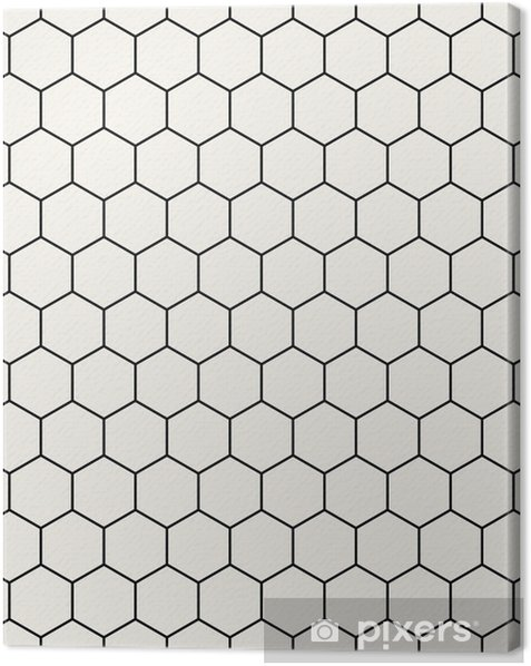 hexagon geometric black and white graphic pattern Canvas Print - Graphic Resources