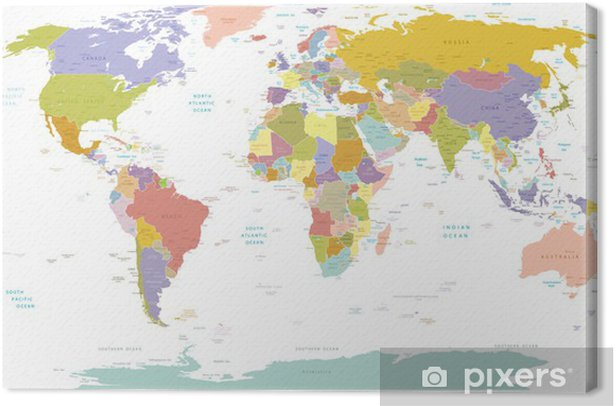 High Detail World map.Layers used. Canvas Print - Themes
