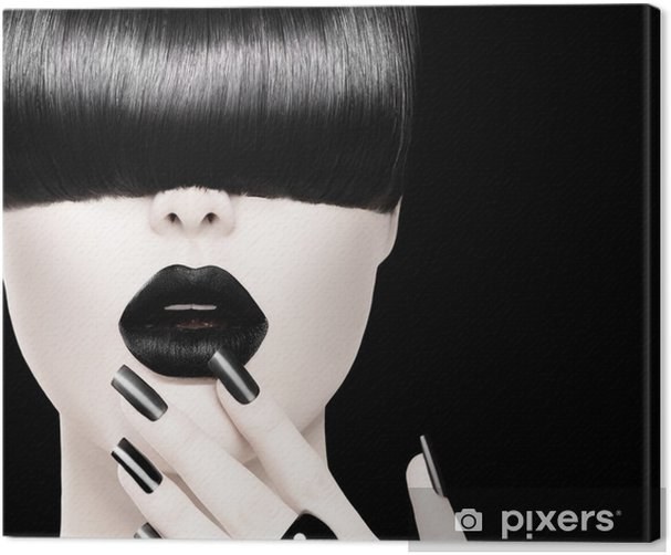 High Fashion Black and White Model Girl Portrait Canvas Print - Fashion