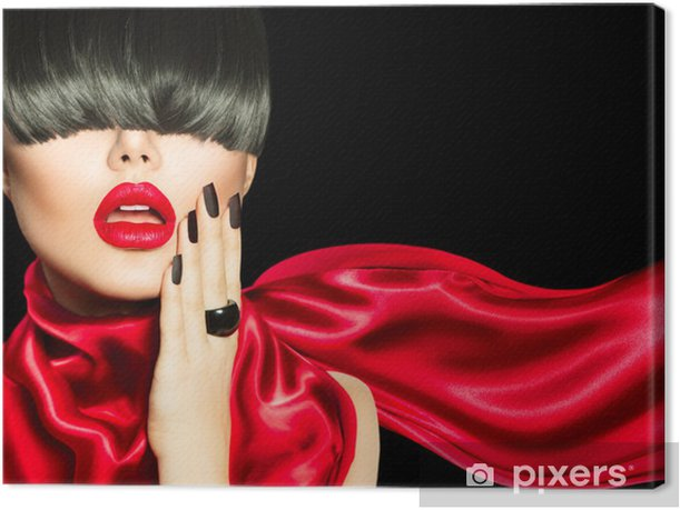 High Fashion Girl with Trendy Hairstyle, Makeup and Manicure Canvas Print - Fashion