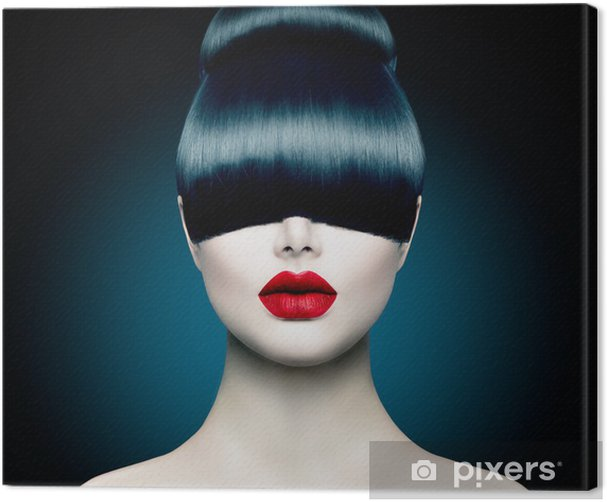 High Fashion Model Girl Portrait with Trendy Fringe Canvas Print - Themes
