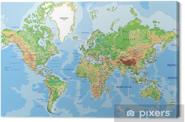 Highly detailed physical World map with labeling. Canvas Print - iStaging