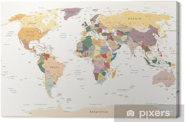 Highly Detailed Political World Map Vintage Colors Canvas Print - Themes
