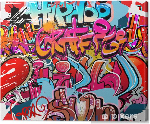 Hip hop graffiti urban art background Canvas Print - Themes