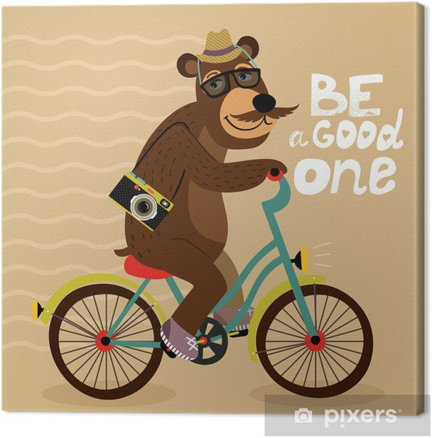 Hipster poster with geek bear Canvas Print - On the Road