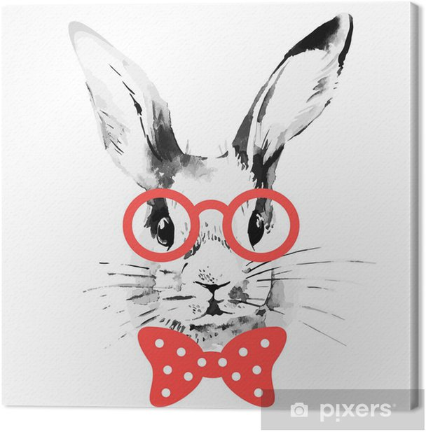 Hipster rabbit. Hand drawn watercolor sketch portrait Canvas Print - Rabbits