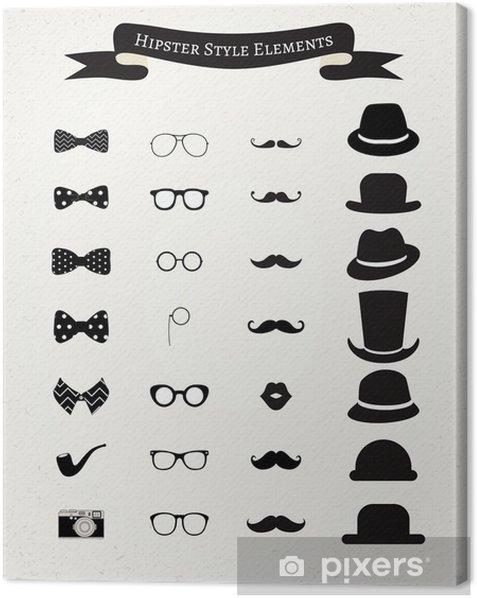 Hipster Retro Vintage Icon Set Canvas Print - Moustache