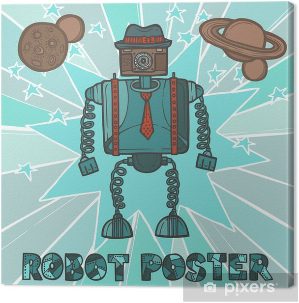 Hipster robot design Canvas Print -