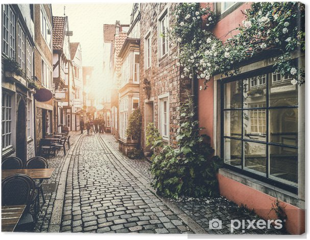 Historic street in Europe at sunset Canvas Print - Themes