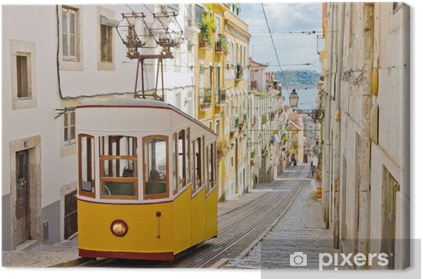 Historic tram on a street in Lisbon Canvas Print - Themes
