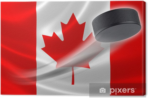 Hockey Puck Streaks Across Canadian Flag Canvas Print
