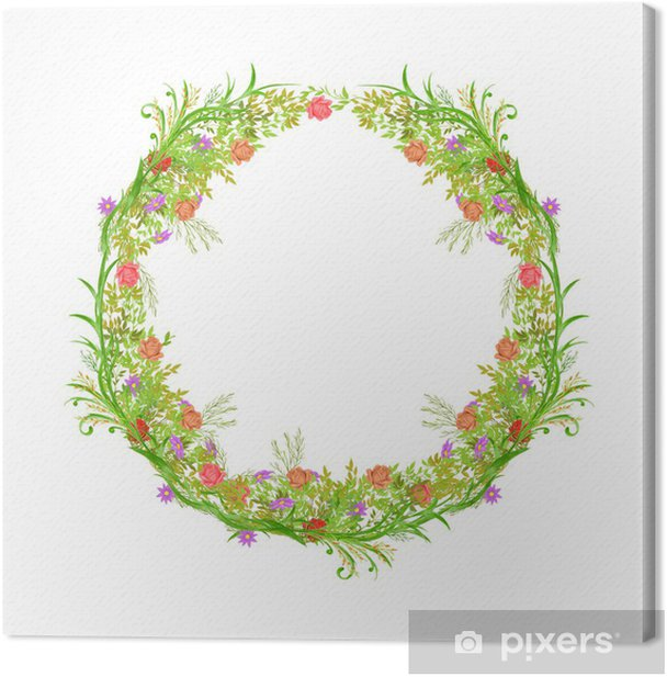 Holiday garland Canvas Print - Flowers