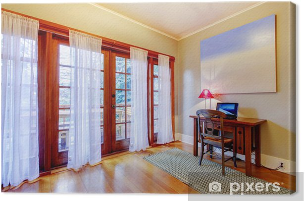 Home office with large door windows. Canvas Print - Private Buildings