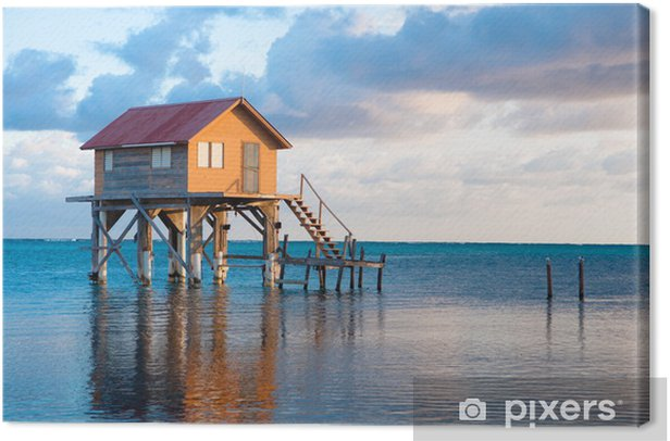 Home on the Ocean in Ambergris Caye Belize Canvas Print - America