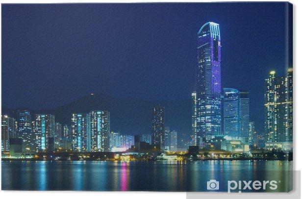 Hong Kong city at night Canvas Print - Themes