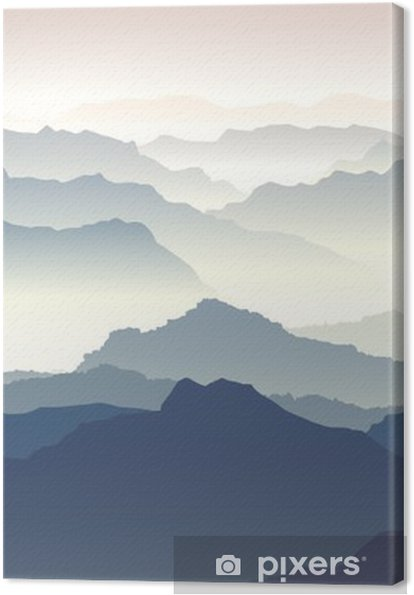Horizontal illustration of twilight in mountains. Canvas Print - Autumn