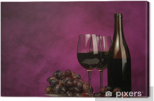 horizontal of wine bottle with glasses and grapes Canvas Print - Wine