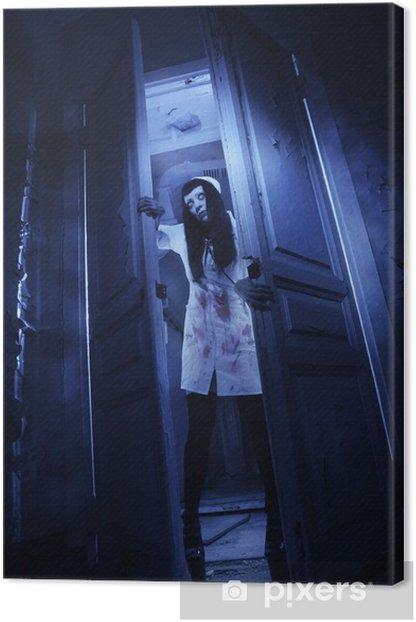 Horror movie. Crazy dead nurse Canvas Print - Themes