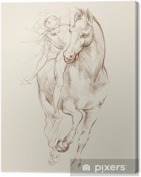 Horse and Rider. Based on drawing of Leonardo da Vinci Canvas Print - Themes