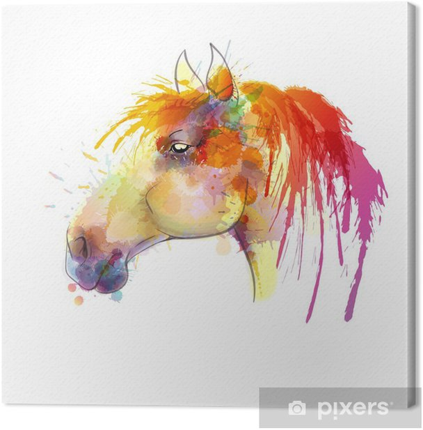 Horse head watercolor painting Canvas Print - Other Other
