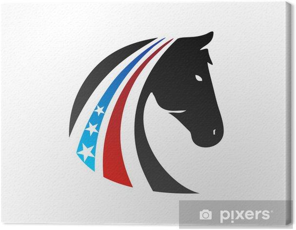 horse logo USA flag symbol emblem Canvas Print - Success and Achievement