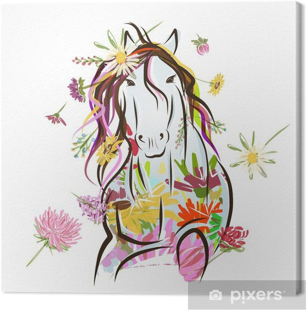 Horse sketch with floral decoration for your design. Symbol of Canvas Print - Wall decals