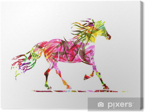 Horse sketch with floral ornament for your design. Symbol of Canvas Print - Themes