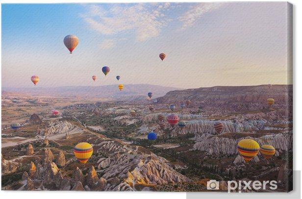 Hot air balloon flying over Cappadocia Turkey Canvas Print - Holidays