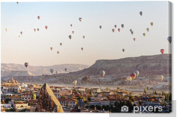 Hot air balloon flying over valleys in Cappadocia Turkey Canvas Print - Travel