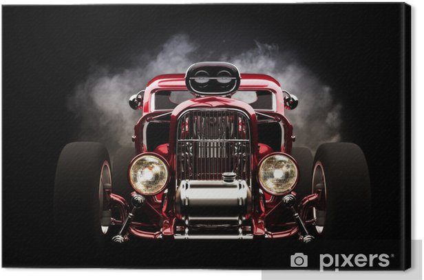 Hotrod with smoke background Canvas Print - Backgrounds