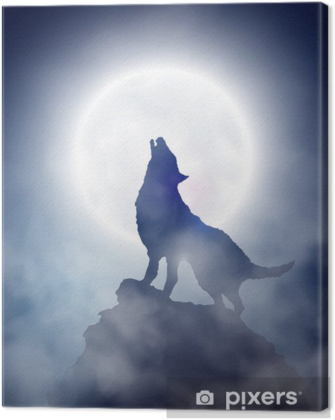 Howling wolf Canvas Print - Themes