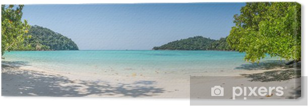 Huge Panorama Wild Tropical Beach. Turuoise Sea at Surin Marine Canvas Print - Themes
