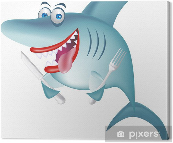 Hungry shark Canvas Print - Wall decals