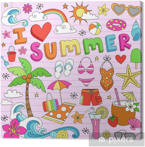 I Love Summer Vacation Notebook Doodles Canvas Print - Holidays
