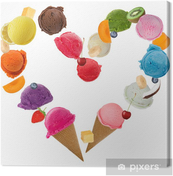 Ice Cream Heart Over White Background Canvas Print