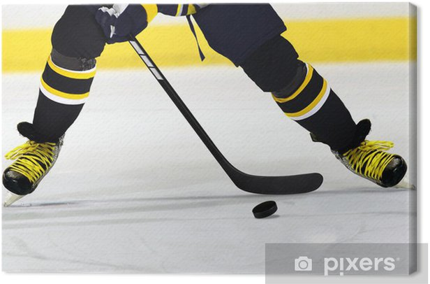 Ice Hockey Player on Rink Canvas Print - Body Parts