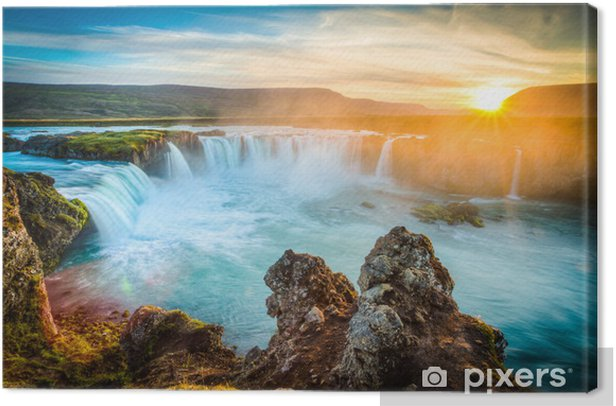 Iceland, Godafoss at sunset, beautiful waterfall, long exposure Canvas Print - Themes