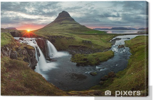 Iceland Landscape spring panorama at sunset Canvas Print - Themes